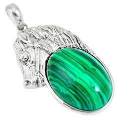25.99cts natural green malachite (pilot's stone) 925 silver horse pendant a92892