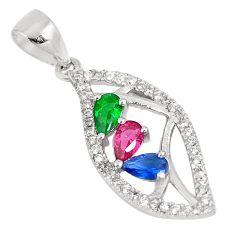 Green emerald (lab) sapphire lab ruby lab topaz 925 silver pendant a93014