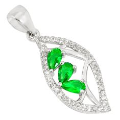 1.62cts green emerald (lab) topaz 925 sterling silver pendant jewelry a93023