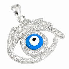 4.06cts blue evil eye talismans topaz 925 sterling silver pendant jewelry a93085
