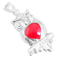 2.69gms red coral enamel 925 sterling silver owl pendant jewelry a93256