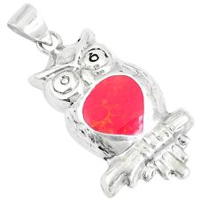 2.69gms red coral enamel 925 sterling silver owl pendant jewelry a93257