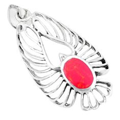 3.89gms red coral enamel 925 sterling silver pendant jewelry a93273