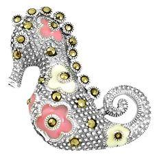 7.48gms fine marcasite enamel 925 sterling silver seahorse pendant a93428