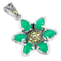 7.24cts natural green emerald (lab) marcasite 925 sterling silver pendant a93442