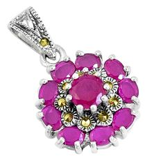2.81cts red ruby (lab) marcasite 925 sterling silver pendant jewelry a93447