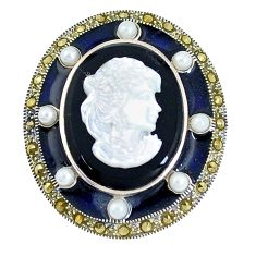 17.16cts natural black onyx pearl enamel cameo face 925 silver pendant a93476