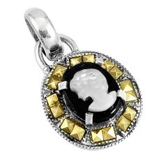 4.43cts natural black onyx pearl cameo face 925 silver pendant jewelry a93491