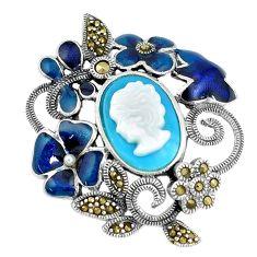 Blue sleeping beauty turquoise pearl enamel 925 silver lady face pendant a93722
