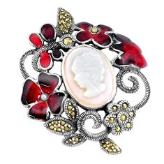 6.42cts natural white pearl marcasite enamel 925 silver lady face pendant a93732