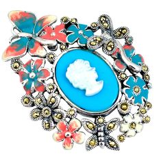 Blue sleeping beauty turquoise pearl enamel lady face 925 silver pendant a93916