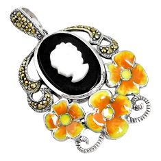 925 silver 10.89cts natural black onyx pearl enamel lady face pendant a93917