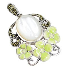 12.62cts natural white pearl marcasite enamel lady face silver pendant a93946
