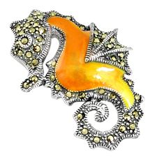 7.26gms marcasite enamel 925 sterling silver seahorse pendant jewelry a94264