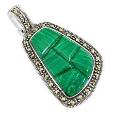 11.71cts natural green malachite (pilot's stone) 925 silver pendant a94322