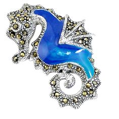 925 silver 6.89gms swiss marcasite enamel seahorse pendant jewelry a94330