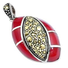 4.89gms natural honey onyx marcasite 925 sterling silver pendant jewelry a94379
