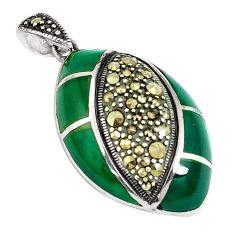7.33cts natural green chalcedony marcasite 925 sterling silver pendant a94384