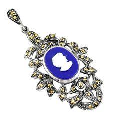 Natural blue lapis lazuli marcasite pear lady face 925 silver pendant a94413