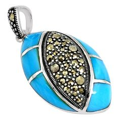 7.33cts blue sleeping beauty turquoise marcasite 925 silver pendant a94460