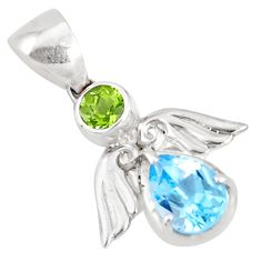 4.04cts natural blue topaz peridot 925 sterling silver pendant jewelry a94471
