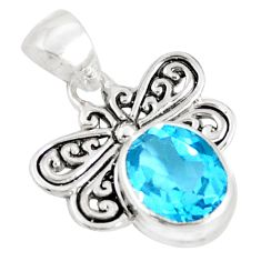 3.17cts natural blue topaz 925 sterling silver butterfly pendant jewelry a94473