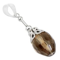 925 sterling silver 11.08cts brown smoky topaz drop pendant jewelry a94503