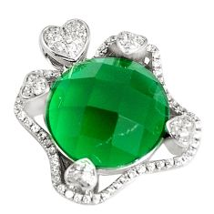 14.88cts green emerald (lab) topaz 925 sterling silver pendant jewelry a94517