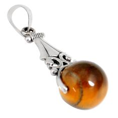 15.16cts natural brown tiger's eye 925 sterling silver pendant jewelry a94530