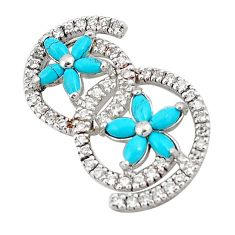 7.58cts fine blue turquoise topaz 925 sterling silver pendant jewelry a94642