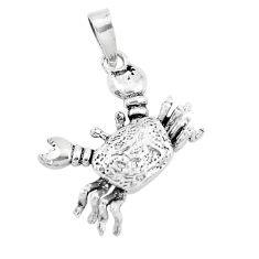 2.89gms indonesian bali style solid 925 silver crab charm pendant a94681