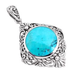 3.68cts natural blue kingman turquoise 925 sterling silver pendant a95186