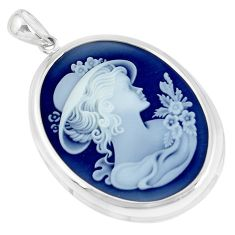 925 sterling silver 25.71cts white lady flower cameo pendant jewelry a95504