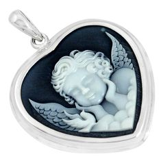 11.26cts white baby wing cameo 925 sterling silver heart pendant jewelry a95519