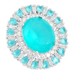 10.29cts natural aqua chalcedony white topaz 925 sterling silver pendant a96063