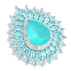 12.07cts natural aqua chalcedony pear topaz 925 sterling silver pendant a96068