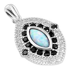 925 silver 5.22cts pink australian opal (lab) marquise topaz pendant a96643