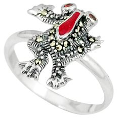 925 silver natural red garnet marcasite enamel frog ring jewelry size 8 a29096