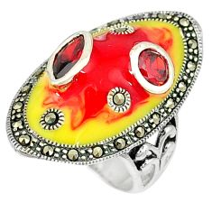 Natural red garnet fine marcasite 925 sterling silver ring jewelry size 7 a29660
