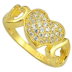 Natural white topaz 925 sterling silver 14k gold heart ring size 5 a31346