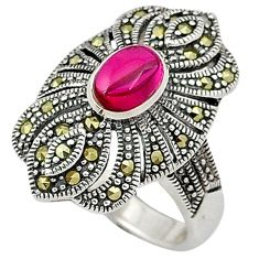 925 sterling silver red ruby quartz marcasite ring jewelry size 6.5 a31365