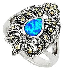 Blue australian opal (lab) marcasite 925 silver ring jewelry size 6.5 a31464