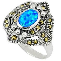 Blue australian opal (lab) marcasite 925 silver ring jewelry size 7 a31493