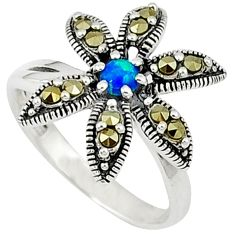 Blue australian opal (lab) marcasite 925 silver ring jewelry size 7 a31542