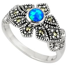 Blue australian opal (lab) round marcasite 925 silver ring size 8.5 a31566