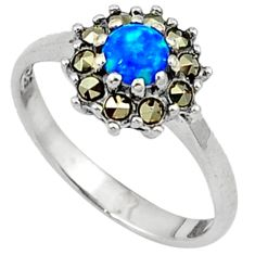 Blue australian opal (lab) round marcasite 925 silver ring size 8.5 a31574