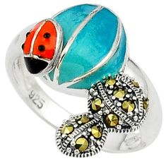 Swiss marcasite enamel 925 sterling silver ring jewelry size 8.5 a31679
