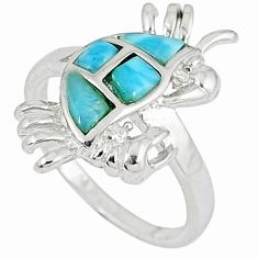 Natural blue larimar white topaz 925 sterling silver crab ring size 8 a33024