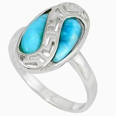 Natural blue larimar pear shape 925 sterling silver ring jewelry size 7 a33035