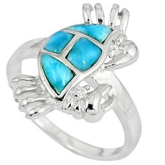 Natural blue larimar topaz 925 sterling silver crab ring jewelry size 8 a33039